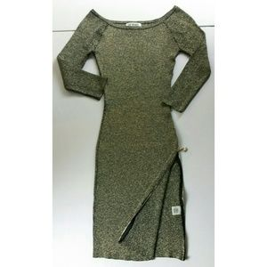 NWT Say What Dress Black & Gold Shimmer S-LG